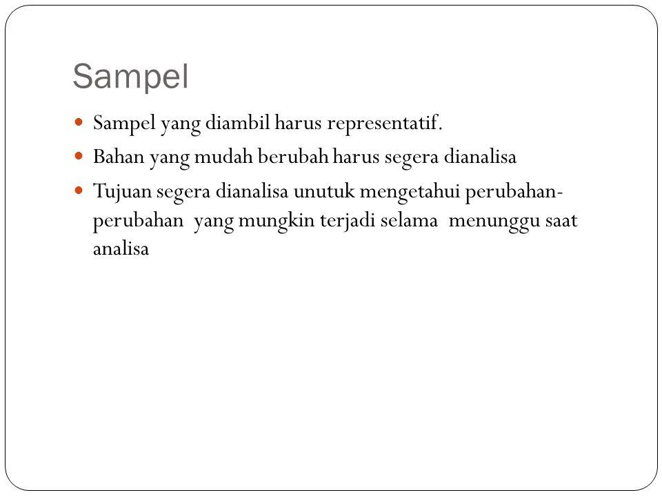 Sampel Sampel yang diambil harus representatif.