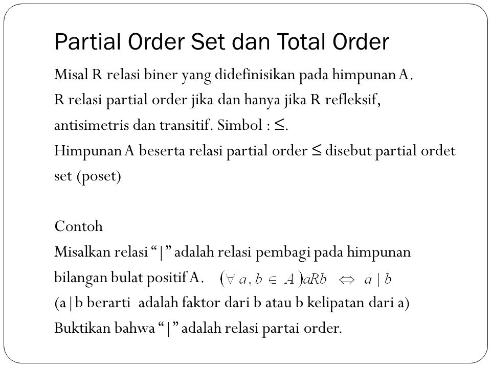 Partial Order Set dan Total Order
