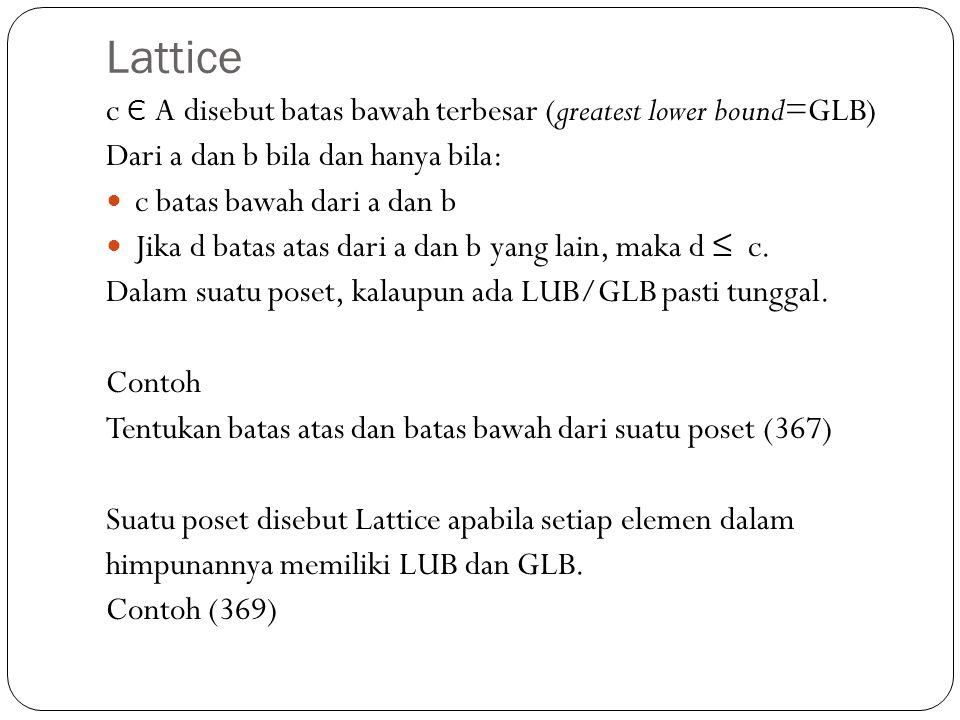 Lattice c Є A disebut batas bawah terbesar (greatest lower bound=GLB)