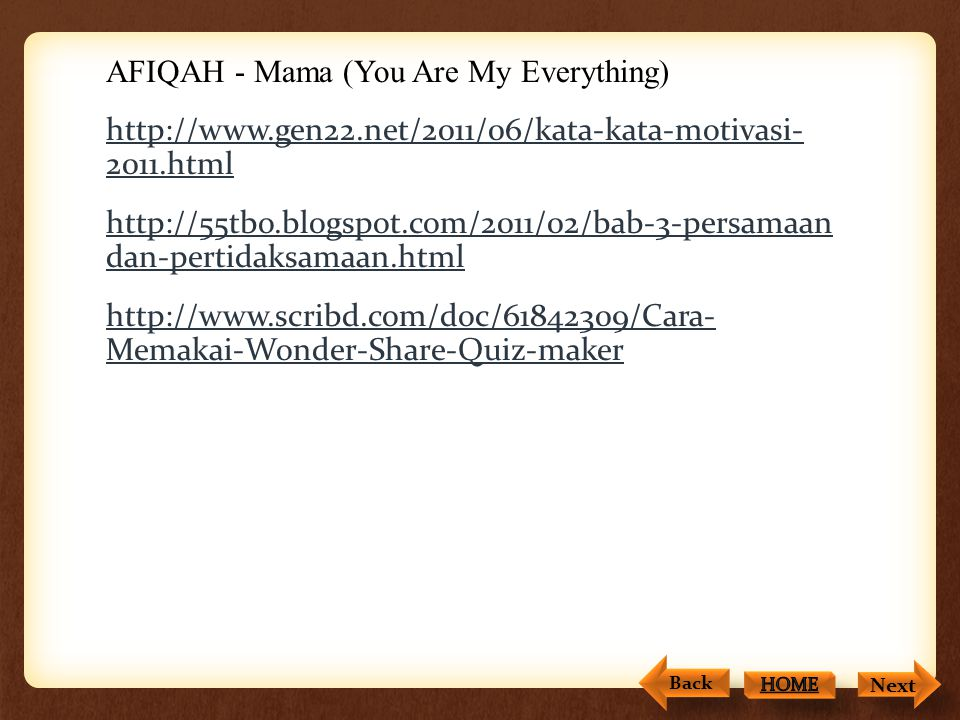 AFIQAH - Mama (You Are My Everything) http://www. gen22