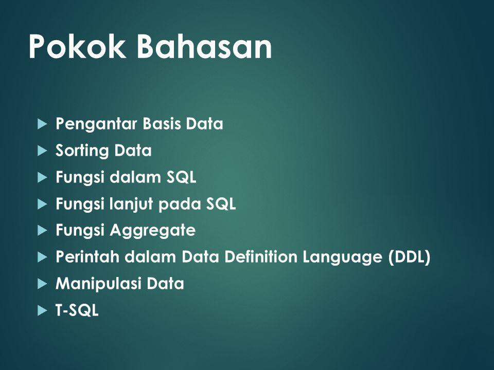 Pokok Bahasan Pengantar Basis Data Sorting Data Fungsi dalam SQL