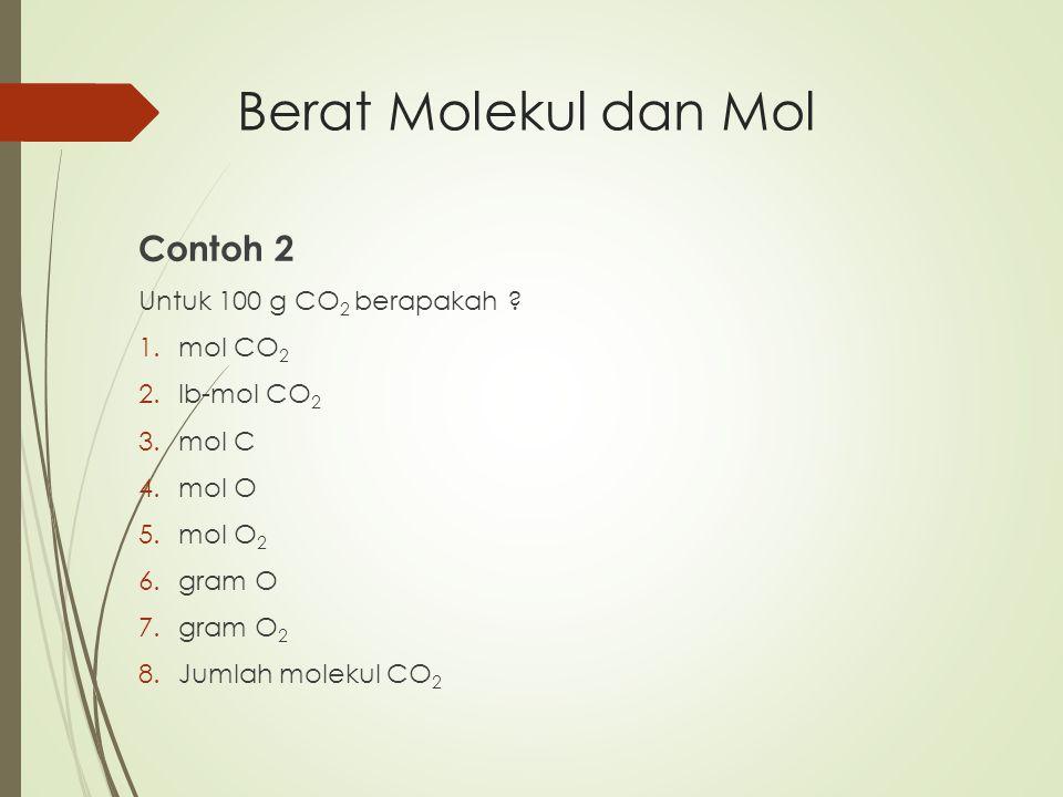 Berat Molekul dan Mol Contoh 2 Untuk 100 g CO2 berapakah mol CO2