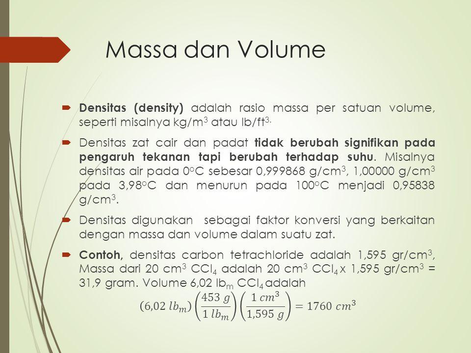Massa dan Volume Densitas (density) adalah rasio massa per satuan volume, seperti misalnya kg/m3 atau lb/ft3.