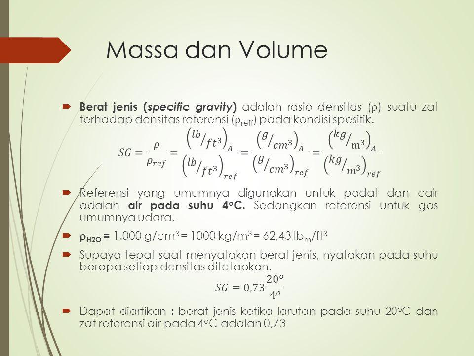 Massa dan Volume Berat jenis (specific gravity) adalah rasio densitas () suatu zat terhadap densitas referensi (reff) pada kondisi spesifik.