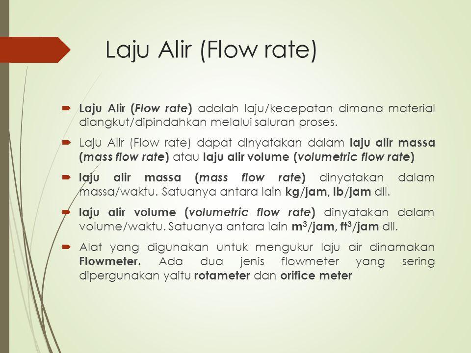 Laju Alir (Flow rate) Laju Alir (Flow rate) adalah laju/kecepatan dimana material diangkut/dipindahkan melalui saluran proses.