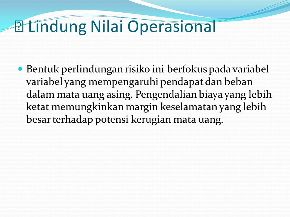  Lindung Nilai Operasional