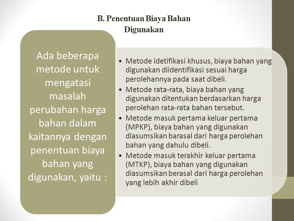 B. Penentuan Biaya Bahan Digunakan