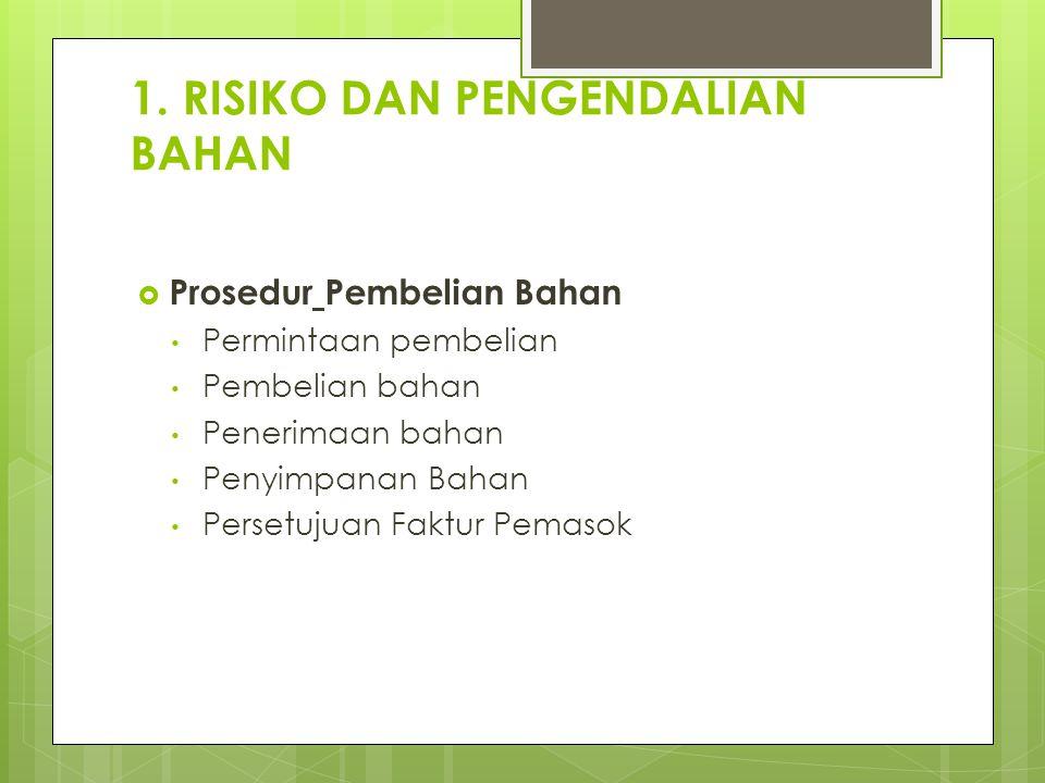 1. RISIKO DAN PENGENDALIAN BAHAN
