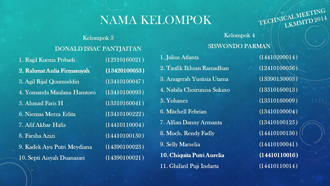 NAMA KELOMPOK TECHNICAL MEETING LKMMTD 2014