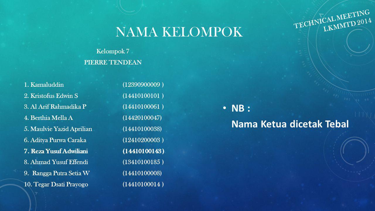 NAMA KELOMPOK NB : Nama Ketua dicetak Tebal