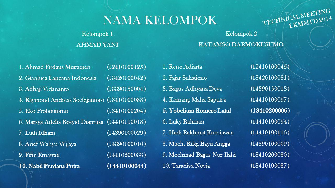 NAMA KELOMPOK TECHNICAL MEETING LKMMTD 2014