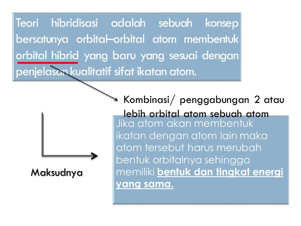 Teori hibridisasi adalah sebuah konsep bersatunya orbital–orbital atom membentuk orbital hibrid yang baru yang sesuai dengan penjelasan kualitatif sifat ikatan atom.