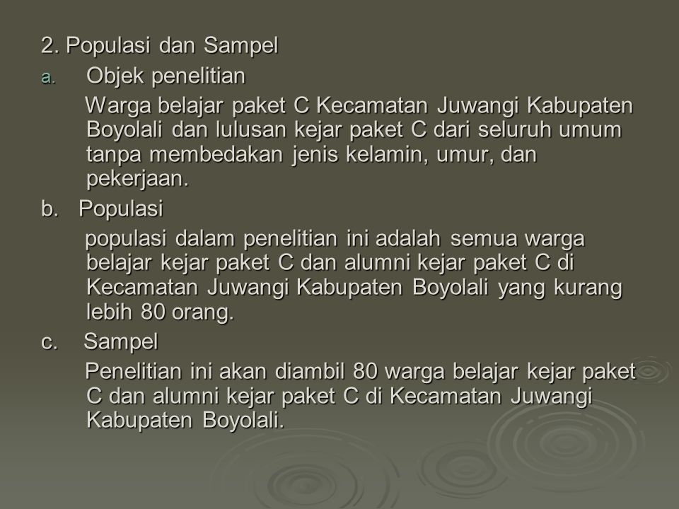 2. Populasi dan Sampel Objek penelitian.