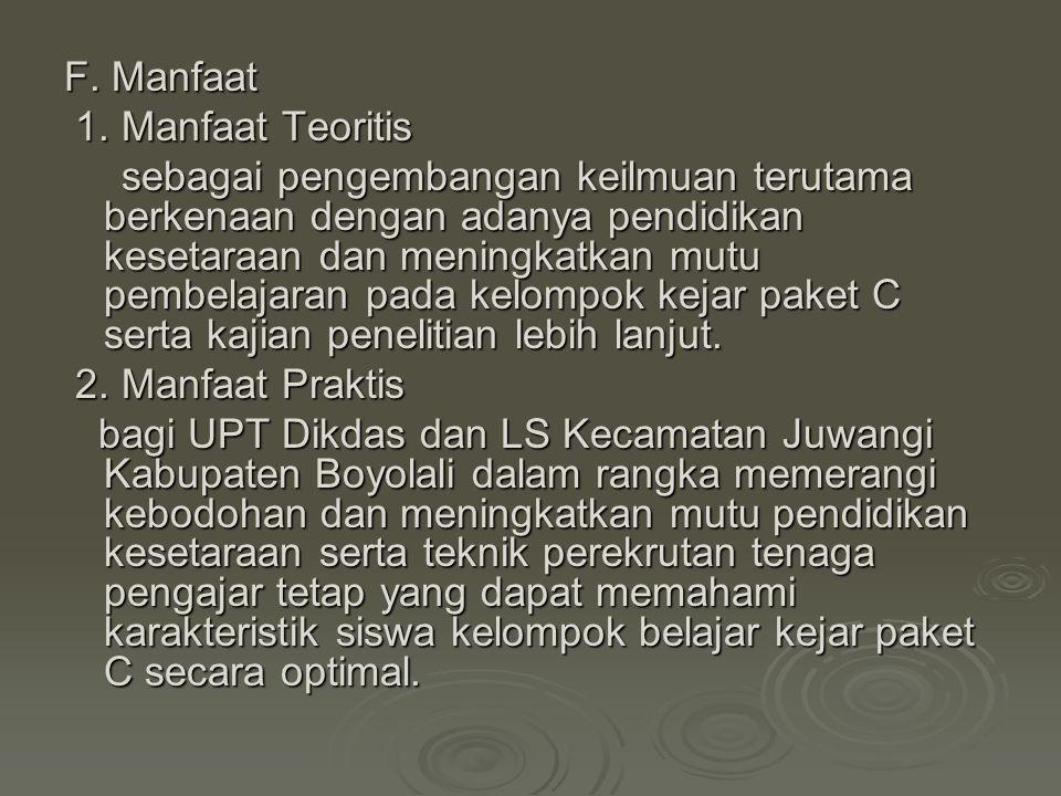F. Manfaat 1. Manfaat Teoritis.