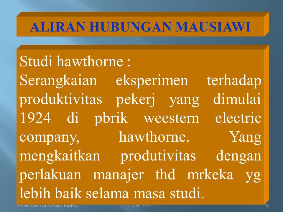 ALIRAN HUBUNGAN MAUSIAWI