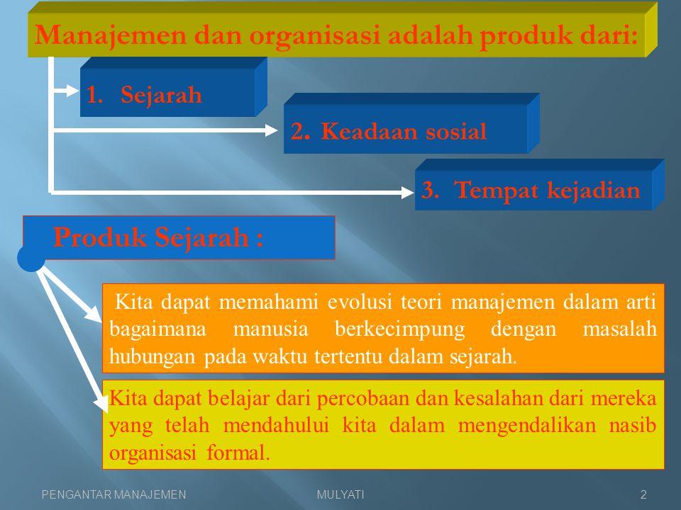 Manajemen dan organisasi adalah produk dari:
