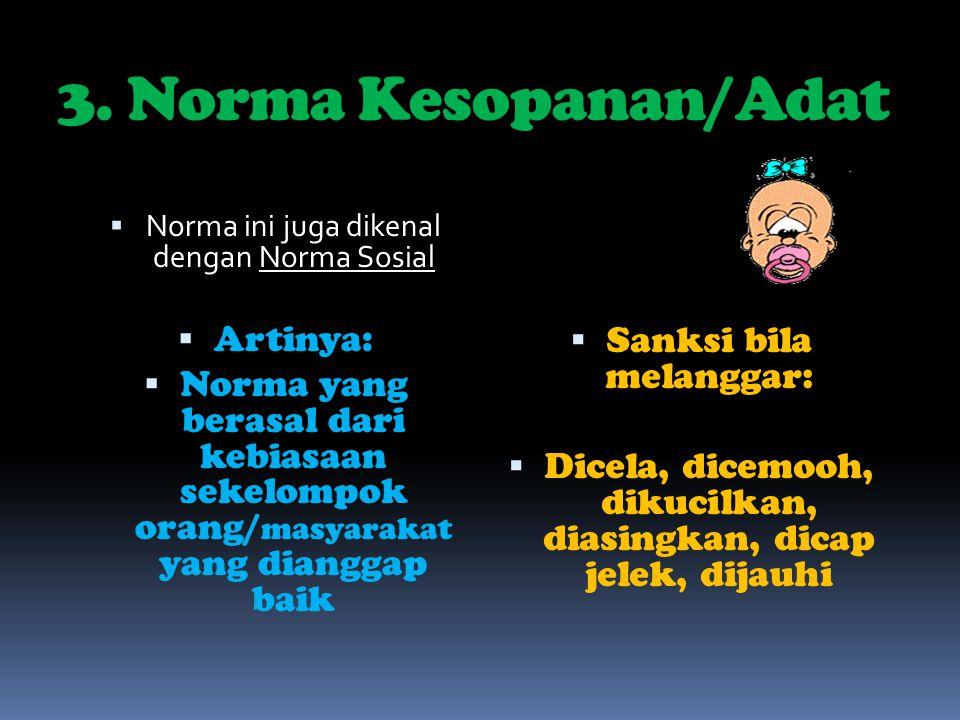 3. Norma Kesopanan/Adat Artinya:
