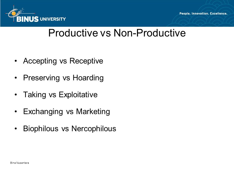 Productive vs Non-Productive