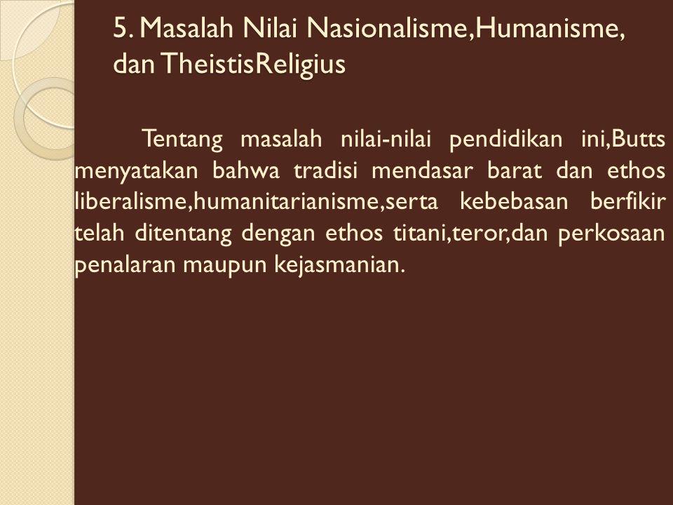 5. Masalah Nilai Nasionalisme,Humanisme, dan TheistisReligius