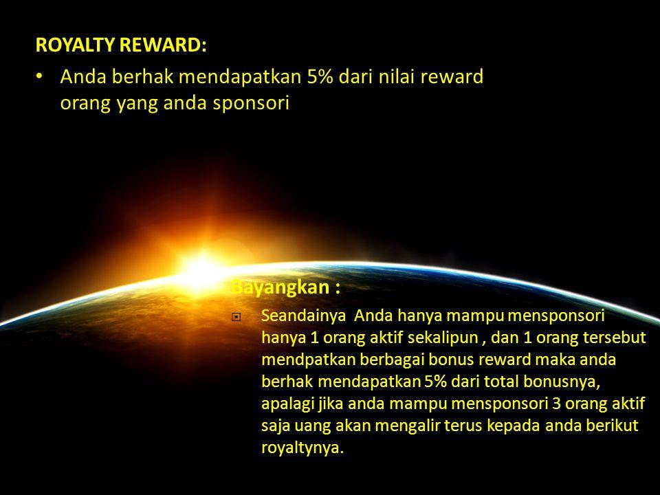 Anda berhak mendapatkan 5% dari nilai reward orang yang anda sponsori