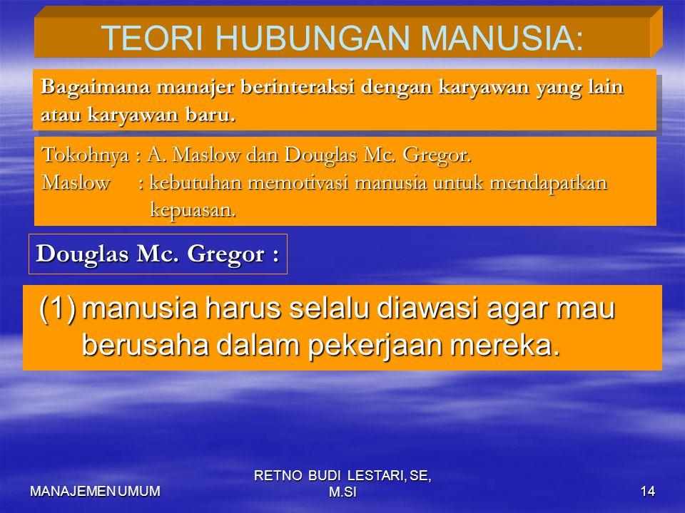 TEORI HUBUNGAN MANUSIA: