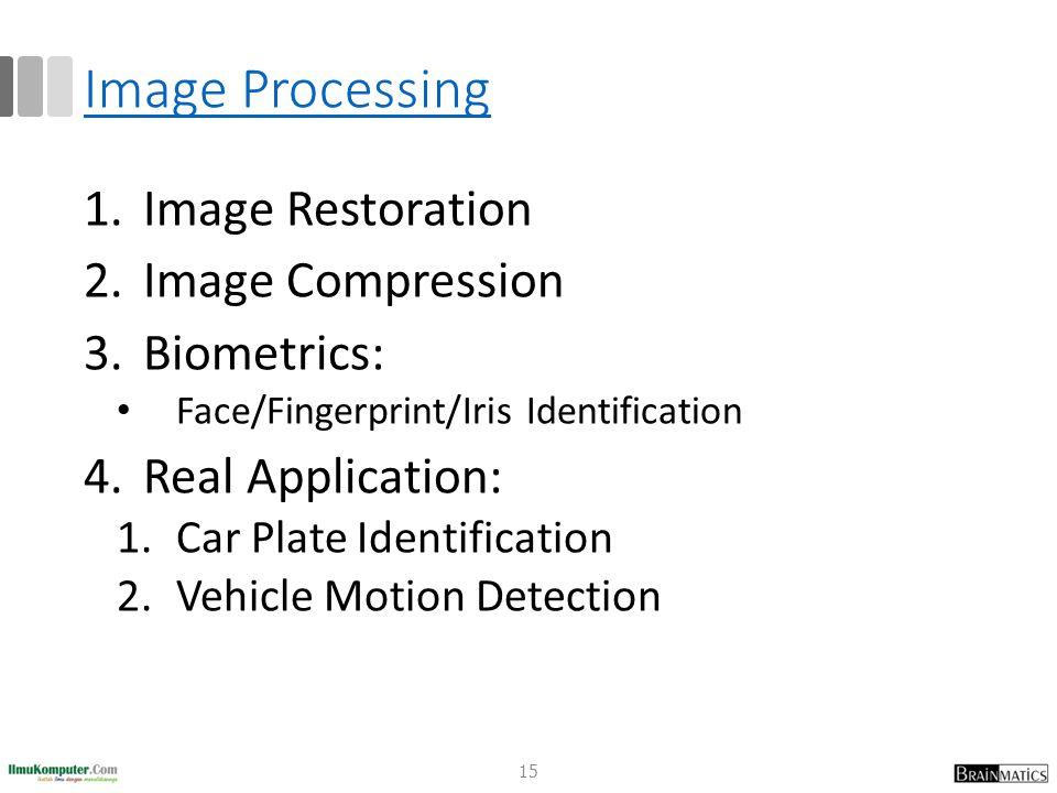 Image Processing Image Restoration Image Compression Biometrics: