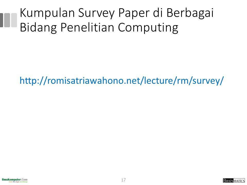 Kumpulan Survey Paper di Berbagai Bidang Penelitian Computing
