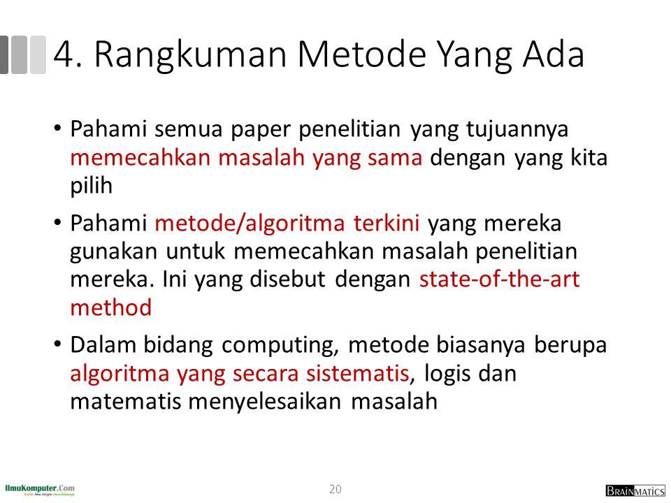 4. Rangkuman Metode Yang Ada