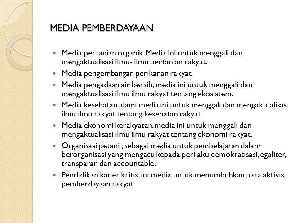 MEDIA PEMBERDAYAAN Media pertanian organik. Media ini untuk menggali dan mengaktualisasi ilmu- ilmu pertanian rakyat.