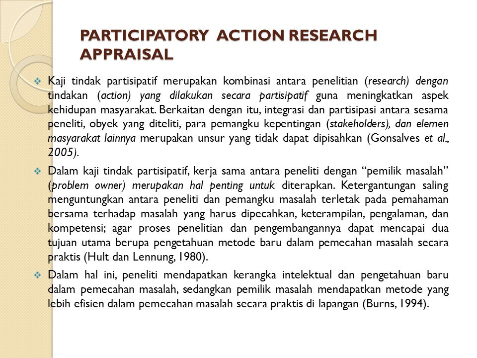 PARTICIPATORY ACTION RESEARCH APPRAISAL