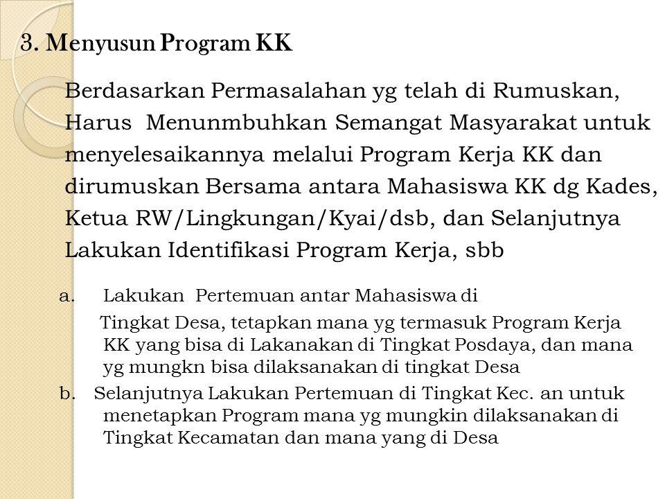 3. Menyusun Program KK Berdasarkan Permasalahan yg telah di Rumuskan,