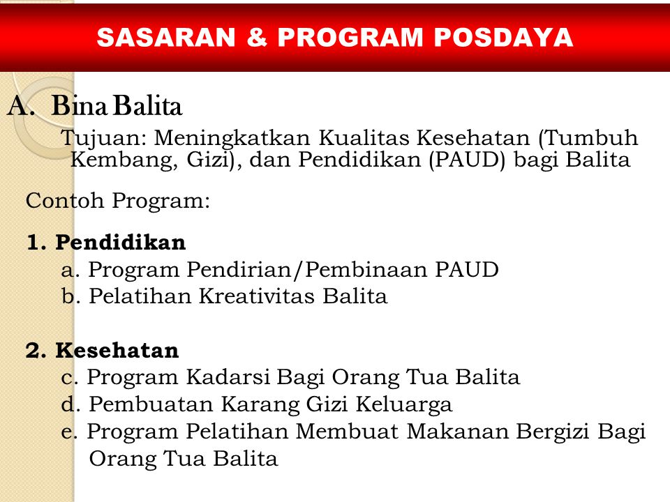 SASARAN & PROGRAM POSDAYA