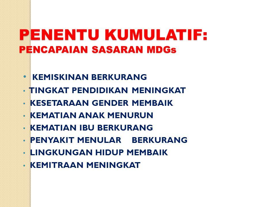PENENTU KUMULATIF: PENCAPAIAN SASARAN MDGs