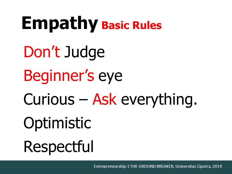 Empathy Basic Rules Don't Judge Beginner's eye