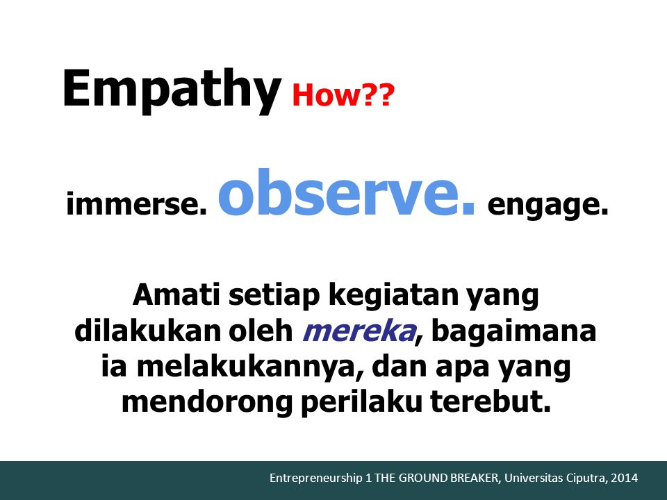 Empathy How immerse. observe. engage.