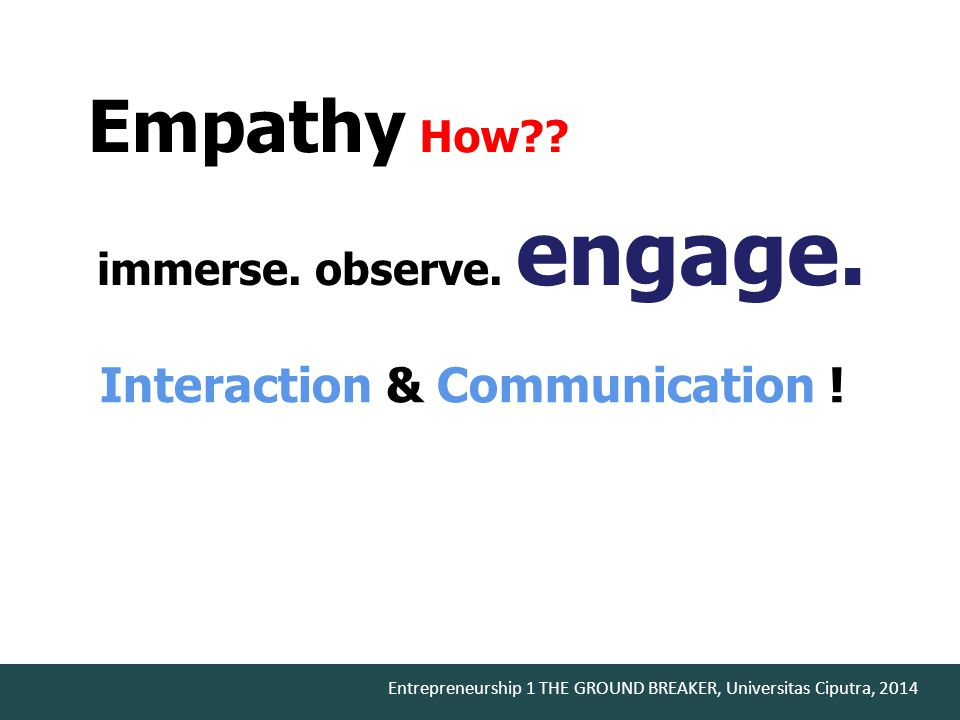 Empathy How Interaction & Communication ! immerse. observe. engage.