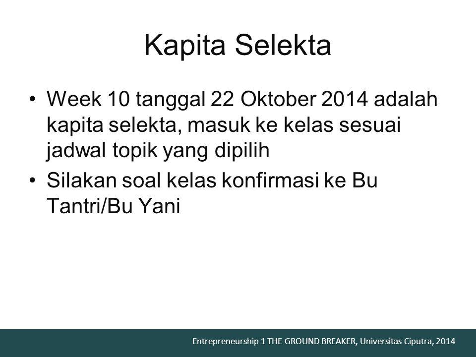 Kapita Selekta Week 10 tanggal 22 Oktober 2014 adalah kapita selekta, masuk ke kelas sesuai jadwal topik yang dipilih.