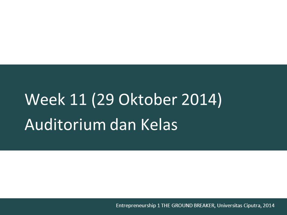Week 11 (29 Oktober 2014) Auditorium dan Kelas