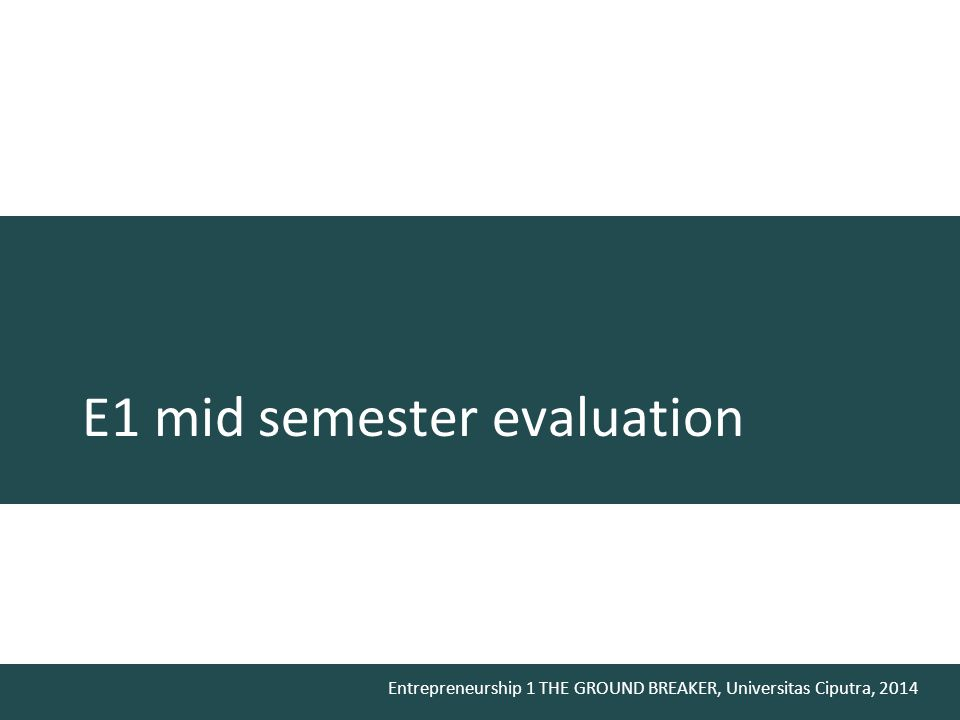 E1 mid semester evaluation