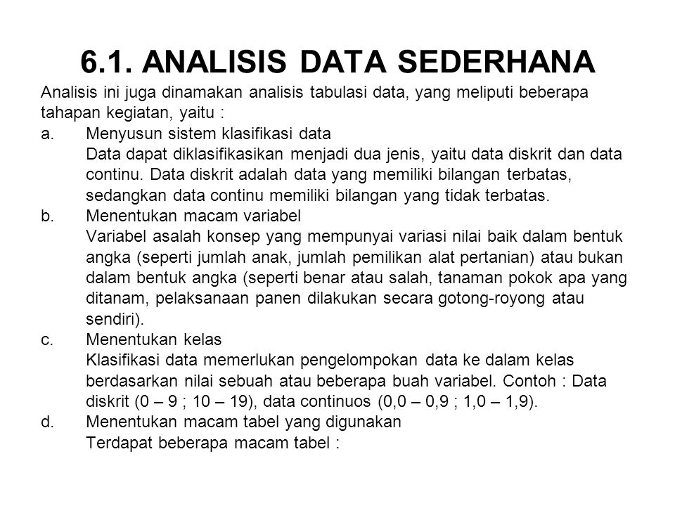 6.1. ANALISIS DATA SEDERHANA