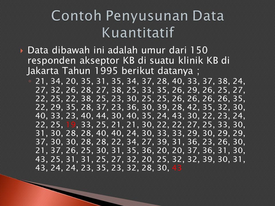 Contoh Penyusunan Data Kuantitatif