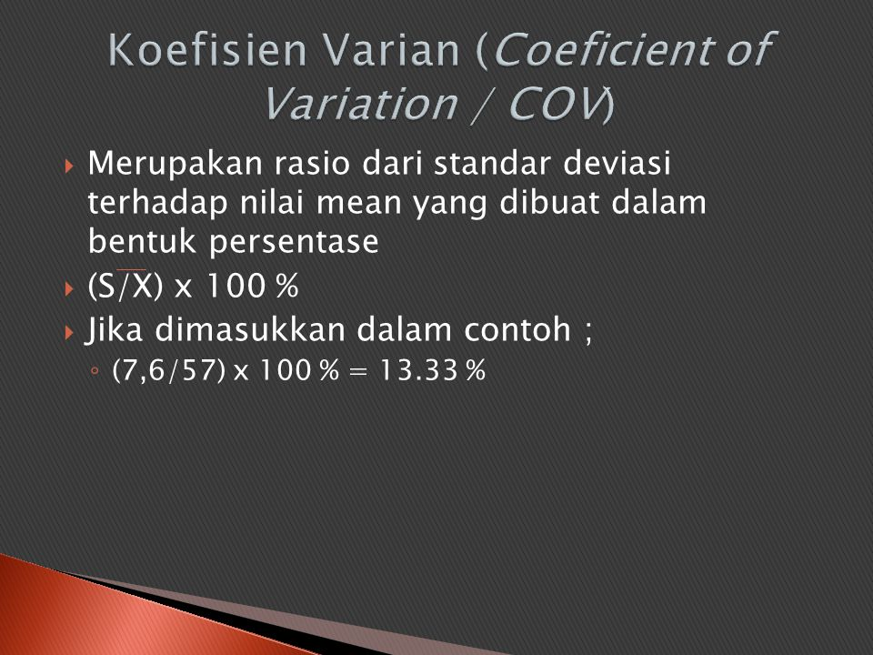 Koefisien Varian (Coeficient of Variation / COV)