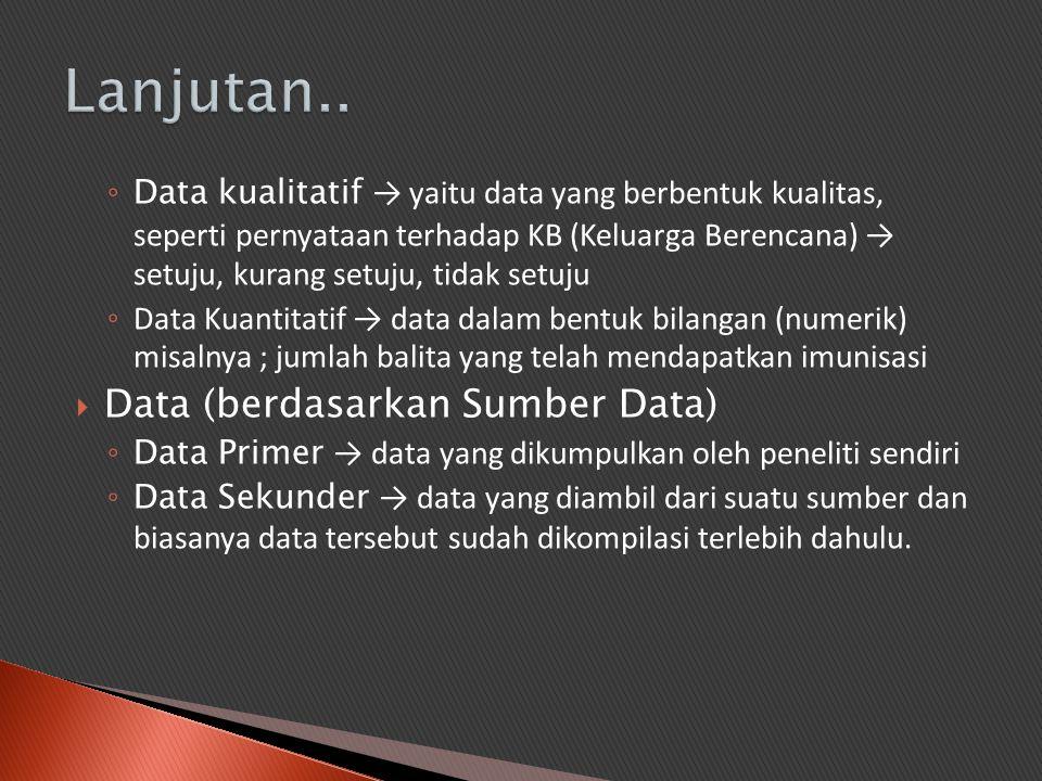 Lanjutan.. Data (berdasarkan Sumber Data)