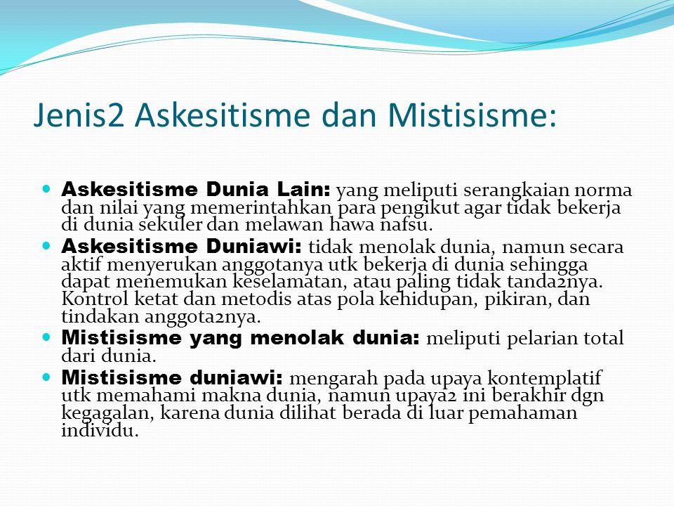 Jenis2 Askesitisme dan Mistisisme: