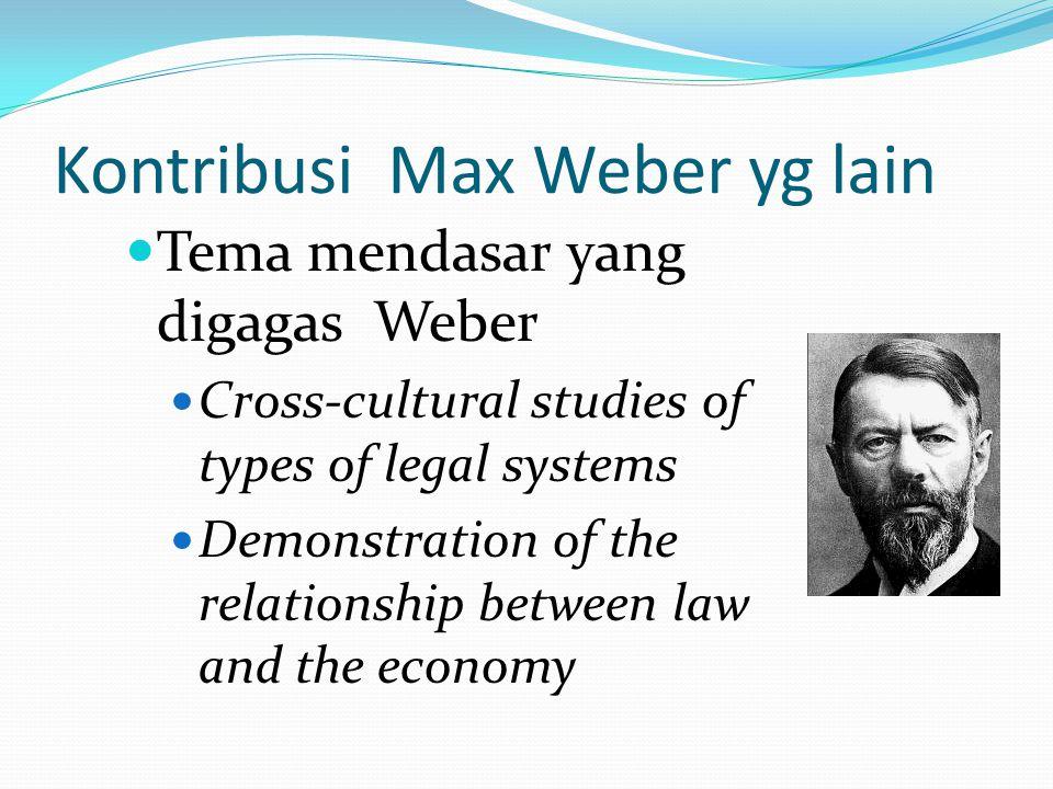 Kontribusi Max Weber yg lain