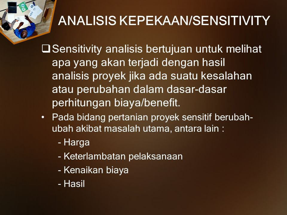 ANALISIS KEPEKAAN/SENSITIVITY