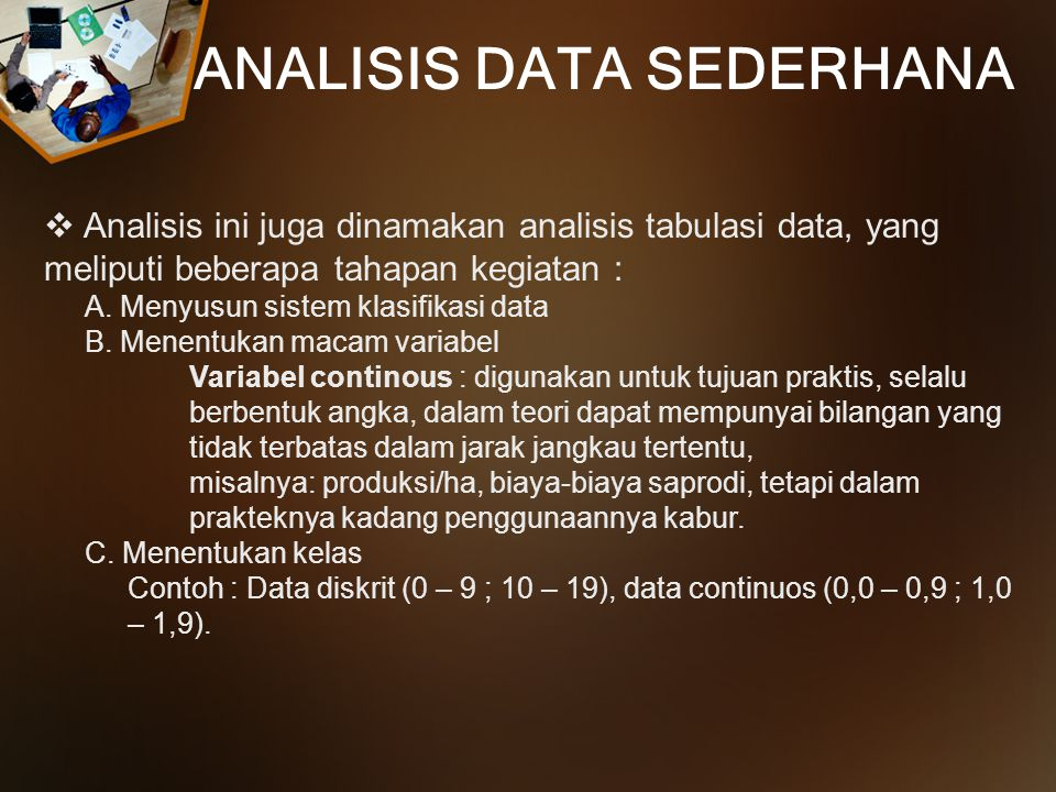 ANALISIS DATA SEDERHANA