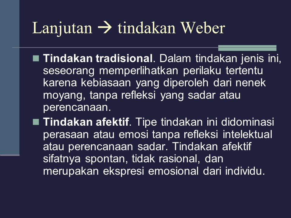 Lanjutan  tindakan Weber