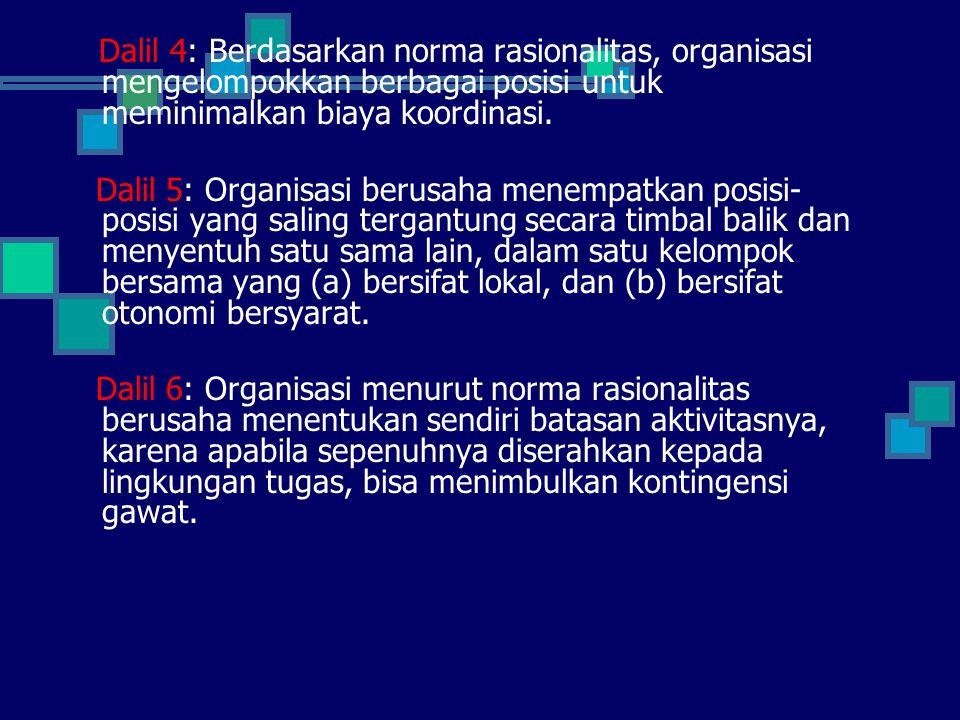 Dalil 4: Berdasarkan norma rasionalitas, organisasi mengelompokkan berbagai posisi untuk meminimalkan biaya koordinasi.
