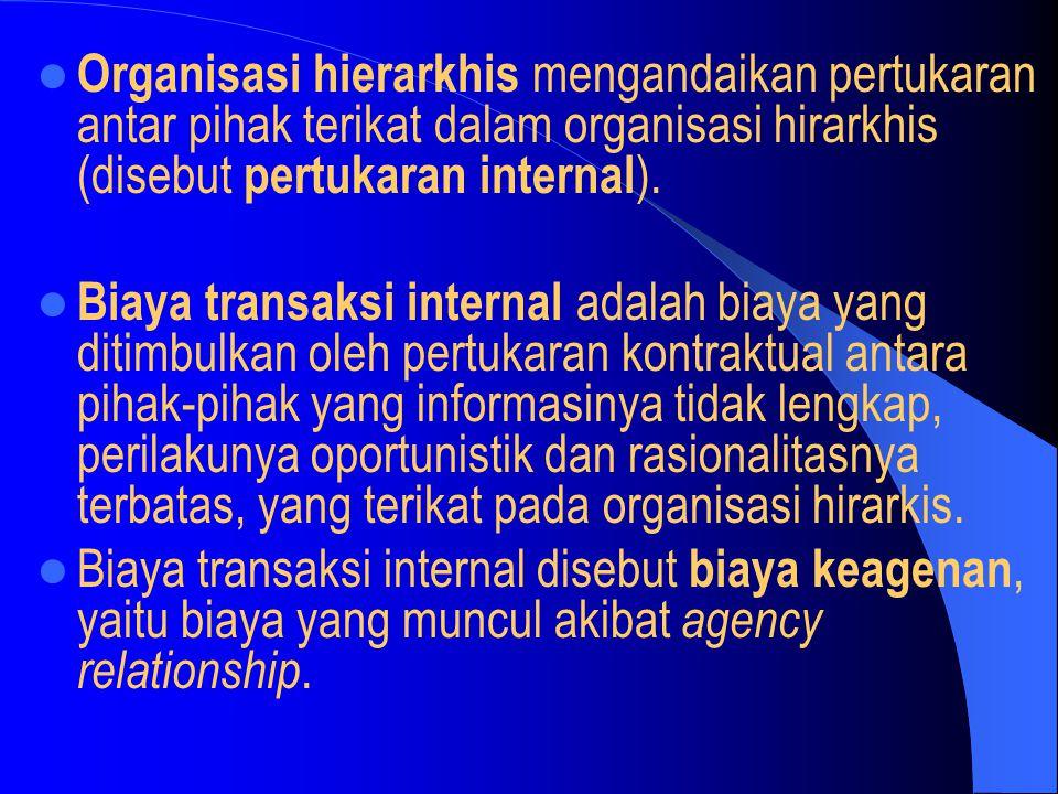 Organisasi hierarkhis mengandaikan pertukaran antar pihak terikat dalam organisasi hirarkhis (disebut pertukaran internal).